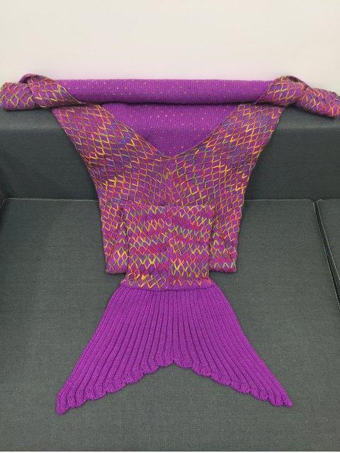 buy Rhombus Design Knitting Mermaid Blanket - PURPLE  Mobile