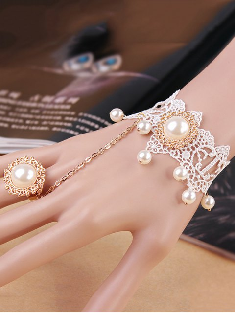 trendy Lace Faux Pearl Bracelet with Ring - WHITE  Mobile