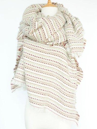Plaid Stripe Fringed Pashmina - WHITE  Mobile