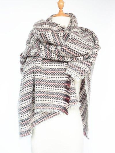 Plaid Stripe Fringed Pashmina - WINE RED  Mobile