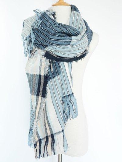 Stripe Fringed Pashmina - BLUE  Mobile