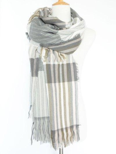 Stripe Fringed Pashmina - GRAY  Mobile