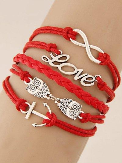 Owl Infinity Anchor Strand Bracelet - RED  Mobile