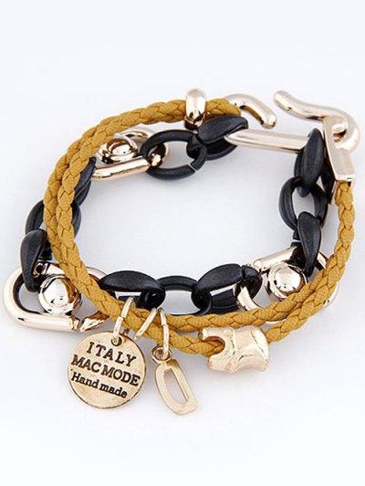 Disc Letter Braided Bracelet - YELLOW  Mobile