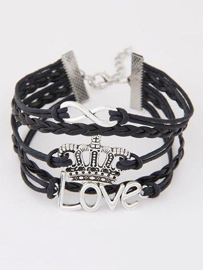 Infinity Crown Braided Bracelet - BLACK  Mobile