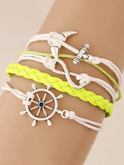 Anchor Rudder Infinity Layered Bracelet - YELLOW  Mobile