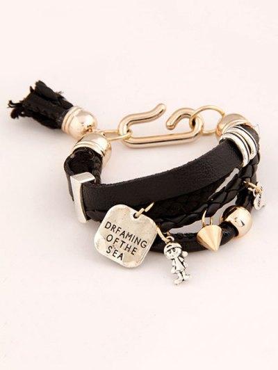 Faux Leather Engraved Braided Bracelet - BLACK  Mobile