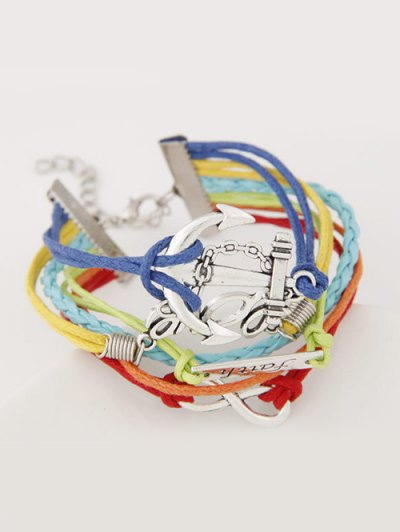 Braid Layered Anchor ID Strand Bracelet - COLORMIX  Mobile