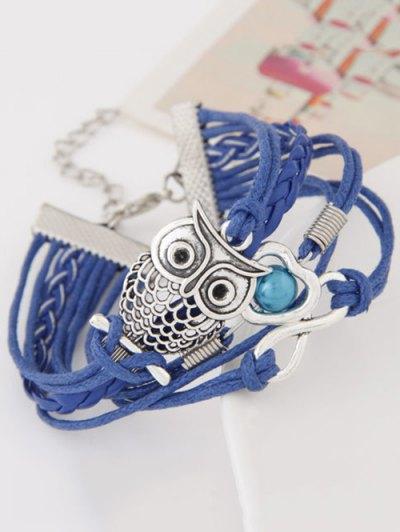 Owl Infinity Heart Braided Bracelet - BLUE  Mobile
