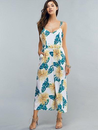 Full Floral Print Cami Chiffon Jumpsuit - COLORMIX S Mobile