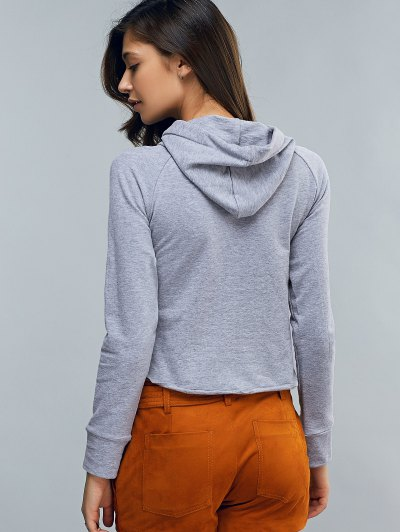 Cropped Hooded Long Sleeve Pullover Hoodie - LIGHT GRAY M Mobile