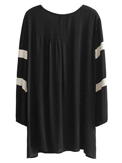 Embroidered V Neck Long Sleeve Mini Dress - BLACK L Mobile