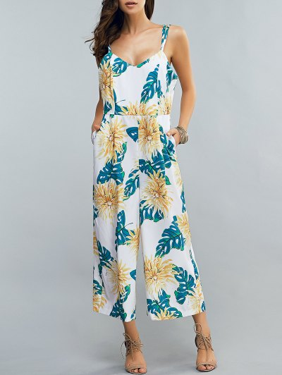 Full Floral Print Cami Chiffon Jumpsuit - COLORMIX 2XL Mobile