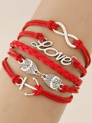 Owl Infinity Anchor Strand Bracelet - Red