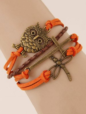 Owl Cross Dragonfly Braided Bracelet - Jacinth