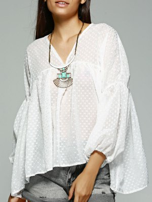 Polka Dot White Long Sleeve Blouse - White