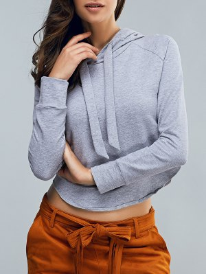 Cropped Hooded Long Sleeve Pullover Hoodie - Light Gray