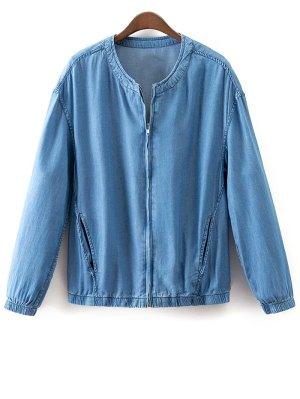 Solid Color Stand Collar Denim Coat - Light Blue