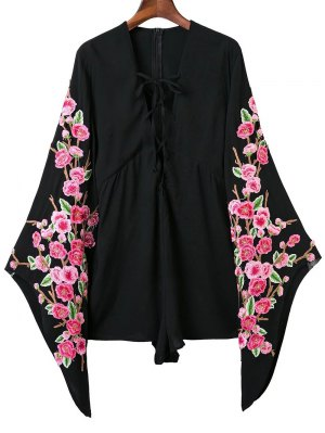 Plunging Neck Floral Lace Up Romper - Black