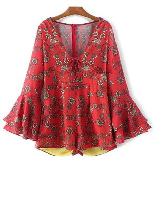 Printed Plunging Neck Bell Sleeve Romper - Red