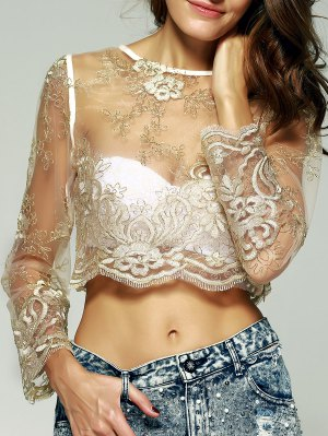 Lace Long Sleeve See-Through Blouse