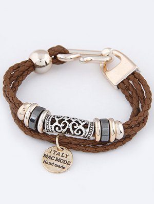 Layered Disc Braided Bracelet - Brown