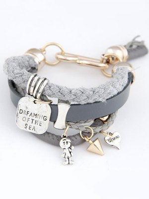 Faux Leather Engraved Braided Bracelet - Gray