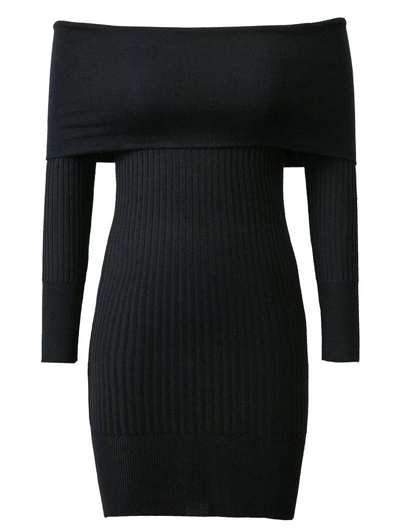 Off The Shoulder Solid Color Sweater Dress