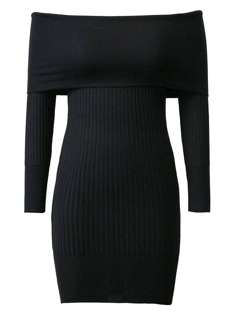 Off The Shoulder Solid Color Sweater Dress - BLACK ONE SIZE
