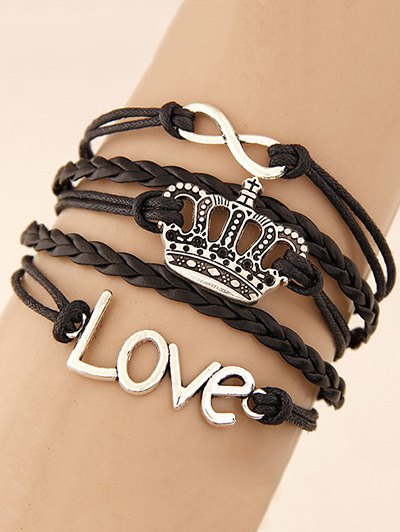 Crown Infinity Braided Bracelet