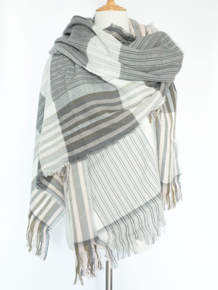 Stripe Fringed PashminaAccessories<br><br><br>Color: GRAY