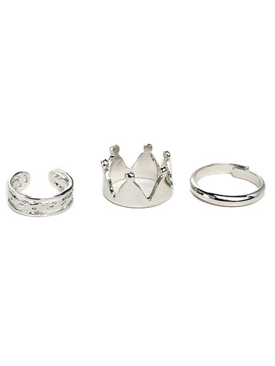 Solid Color Crown Gold Plated Ring Set