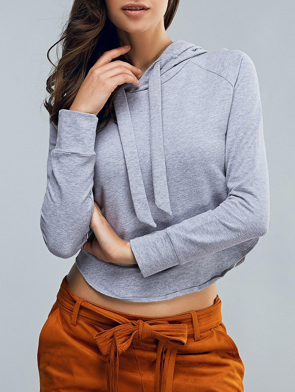 Hooded Long Sleeve Cropped Pullover Hoodie
