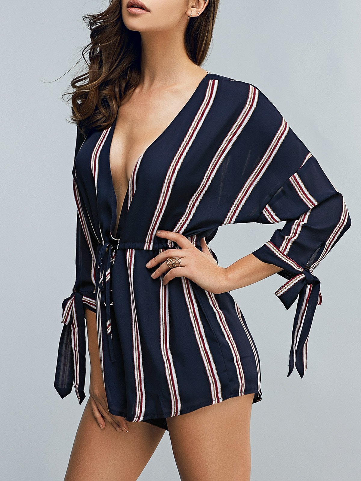 Plunging Neck 3/4 Sleeve Drawstring Striped Romper