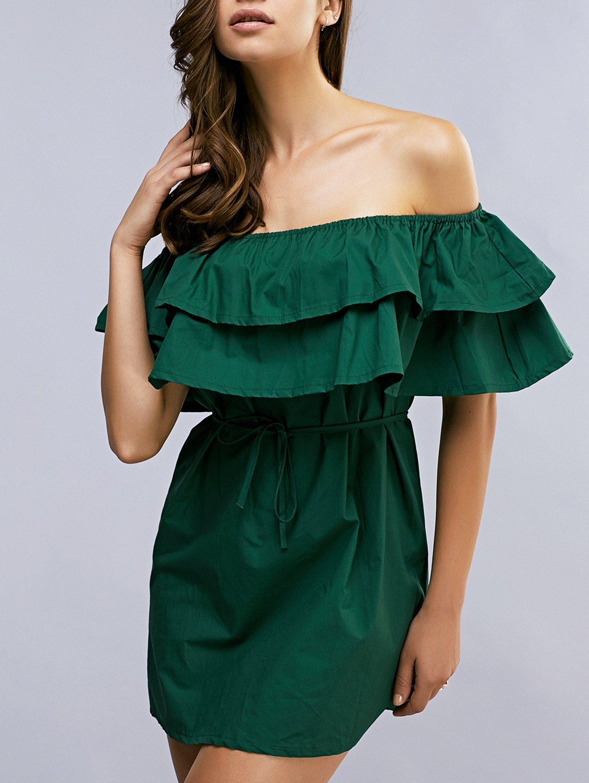 Off The Shoulder Flouncing Spliced Belted Dress