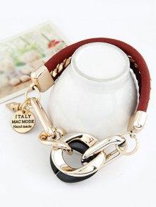 Disc Engraved Braided Bracelet - Wine Red