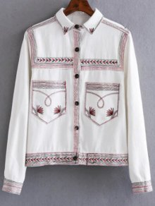 Flat Collar Embroidered Denim Coat