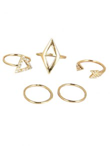 Cut Out Rhinestone Geometric Ring Set - Golden