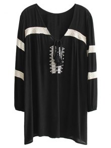 Embroidered V Neck Long Sleeve Mini Dress