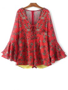 Printed Plunging Neck Bell Sleeve Romper - Red S