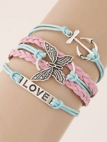 Anchor Butterfly Braided Bracelet