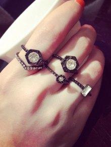 Punk Rhinestone Hexagon Ring Set