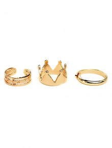 Crown Ring Set - Golden