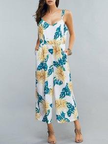 Full Floral Print Cami Chiffon Jumpsuit