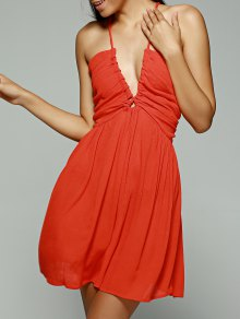 Orange Red Plunging Neck Sleeveless Chiffon Dress