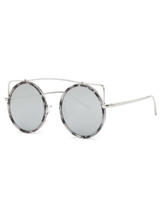 Gafas de sol redondas de mármol travesaño - Plata