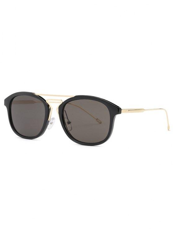 trendy Geometry Nose Bridge Black Sunglasses - BLACK