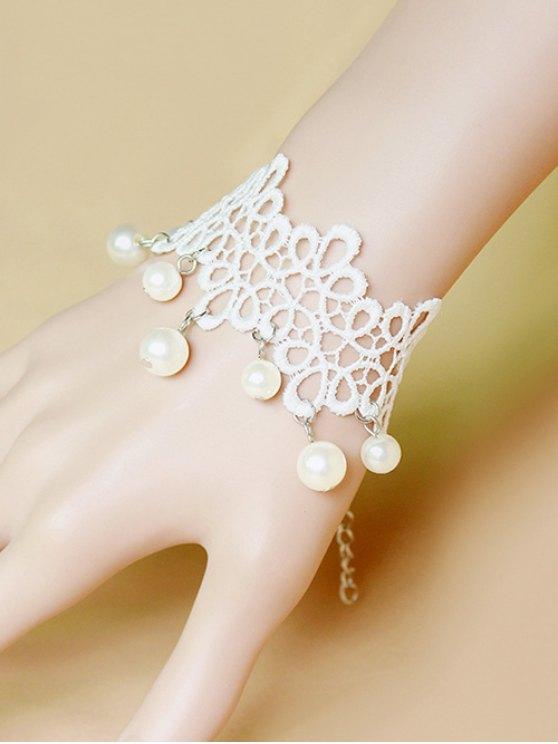 Faux Pearl White Lace Bracelet -   Mobile