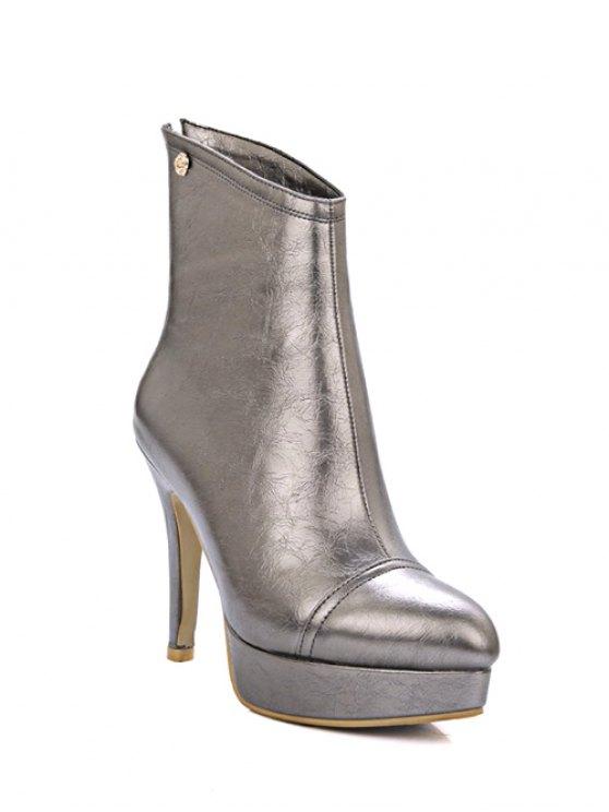 chic Platform Metal Pointed Toe Short Boots - GUN METAL 39