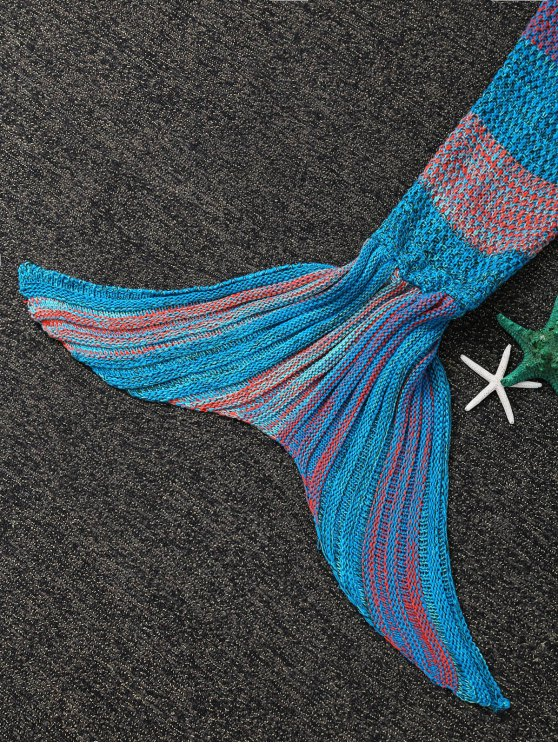 Stripe Knitted Mermaid Tail Blanket - BLUE AND ORANGE  Mobile